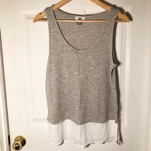 Grey and White Bottom Tank Top